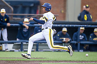 Michigan Wolverines outfielder Johnny Slater (25) begins to slide as the ball arrives against the Bowling Green Falcons on April 6, 2016 at Ray Fisher Stadium in Ann Arbor, Michigan. Michigan defeated Bowling Green 5-0. (Andrew Woolley/Four Seam Images)