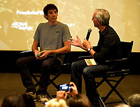 "WEST HOLLYWOOD - NOVEMBER 11:  Alex Honnold and moderator Scott Mantz attend a screening of National Geographic's ""Free Solo"" at Pacific Design Center on November 11, 2018 in West Hollywood, California. (Photo by Frank Micelotta/National Geographic/PictureGroup)"