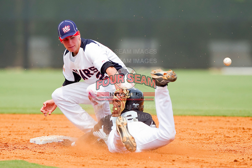 Drew Jackson #2 of STARS can't handle the throw as DeJohn Suber #12 of RBI attempts to steal second base at the 2011 Tournament of Stars at the USA Baseball National Training Center on June 26, 2011 in Cary, North Carolina. (Brian Westerholt/Four Seam Images)