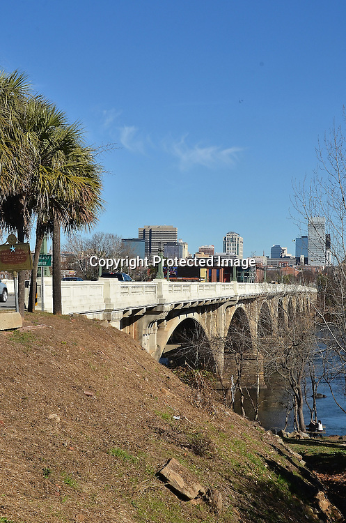Stock photo of Gervais Street Bridge with Columbia South Carolina in the background
