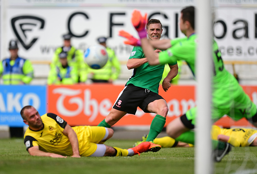 Lincoln City's Jack Muldoon watches on as his shot is saved by Southport's Chris Cheetham<br /> <br /> Photographer Chris Vaughan/CameraSport<br /> <br /> Vanarama National League - Southport v Lincoln City - Saturday 29th April 2017 - Merseyrail Community Stadium - Southport<br /> <br /> World Copyright &copy; 2017 CameraSport. All rights reserved. 43 Linden Ave. Countesthorpe. Leicester. England. LE8 5PG - Tel: +44 (0) 116 277 4147 - admin@camerasport.com - www.camerasport.com