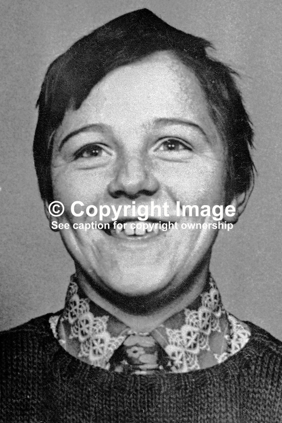 Anthony McDowell, schoolboy, 12 years, from Ardoyne area, Belfast, N Ireland, who was shot dead  in crossfire whilst travelling in a car near his home during a Provisional IRA gun attack on British soldiers. Who actually  killed him in the incident on 19th April 1973 remains a mystery.  197304190208a<br /> <br /> Copyright Image from Victor Patterson, 54 Dorchester Park, Belfast, UK, BT9 6RJ<br /> <br /> t1: +44 28 9066 1296 (from Rep of Ireland 048 9066 1296)<br /> t2: +44 28 9002 2446 (from Rep of Ireland 048 9002 2446)<br /> m: +44 7802 353836<br /> <br /> e1: victorpatterson@me.com<br /> e2: victorpatterson@gmail.com<br /> <br /> The use of my copyright images is subject to my Terms &amp; Conditions.<br /> <br /> It is IMPORTANT that you familiarise yourself with them. They are available on my website at www.victorpatterson.com.<br /> <br /> None of my copyright images may be used on a website unless they are visibly watermarked, i.e. &copy; Victor Patterson within the body of the visible image. Metadata denoting my copyright must NOT be deleted. <br /> <br /> Web use (maximum size - 300 kb) is extra at currently recommended NUJ rates.