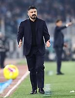 11th January 2020; Stadio Olympico, Rome, Italy; Serie A Football, Lazio versus Napoli; Gennaro Gattuso coach of Napoli shows his annoyance to a decision - Editorial Use
