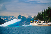 Tour boat and floating glacier iceberg from the Columbia Glacier, Glacier Island, Prince William Sound, Alaska