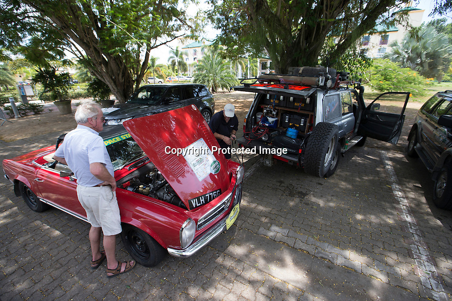 03/09/15<br /> <br /> The Land Cruiser is used to fix a pre rally problem on Alastair Caldwell's (ex McLaren Formula One team manager) 1967 Mercedes.<br /> <br /> Toby Kilner in Paramaribo, Suriname, with his 1991, 470,000 mile, Toyota Land Cruiser which is being used as the support vehicle for The Great Amazon Adventure. <br /> <br /> The Bespoke Rallies, month-long event, which starts tomorrow, will see a selection of classic and modern cars attempt to cross from the Atlantic to the Pacific through the rainforests and mountains of South America.<br /> <br /> All Rights Reserved: F Stop Press Ltd. +44(0)1335 418365   +44 (0)7765 242650 www.fstoppress.com