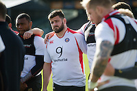 Rob Webber of Bath Rugby looks on in a huddle. Bath Rugby Captain's Run on February 19, 2016 at the Recreation Ground in Bath, England. Photo by: Patrick Khachfe / Onside Images