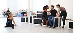 """Tiare Keeno, Chantelle Good, Matt Doyle and Melanie Moore during a press Sneak-Peek for The Joyce Theater's presentation of """"Freddie Falls in Love"""" at Gibney Dance on July 15, 2019 in New York City."""