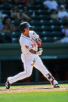 Third baseman Michael Chavis (11) of the Greenville Drive bats in a game against the Augusta GreenJackets on Sunday, June 12, 2016, at Fluor Field at the West End in Greenville, South Carolina. Greenville won, 11-8. (Tom Priddy/Four Seam Images)