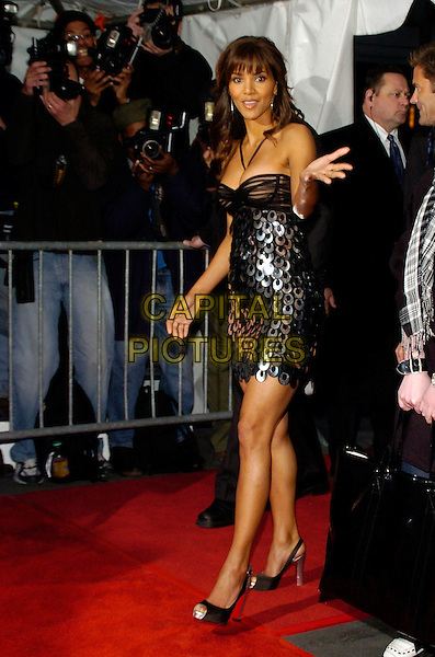 """HALLE BERRY.Columbia Pictures and Revolution Studios premiere of """"Perfect Stranger"""" at Ziegfield Theater, New York, New York, USA, 10  April 2007..full length black and silver metal discs sequined beaded dress.CAP/ADM/BL.©Bill Lyons/AdMedia/Capital Pictures. *** Local Caption ***"""