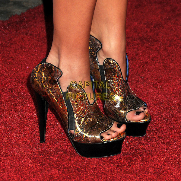 KRISTIN CAVALLARI's shoes .Nylon Magazine's Young Hollywood Party held at the Roosevelt Hotel's Tropicana Bar,  Hollywood, California, USA, 12th May 2010..arrivals feet detail heels  gold bronze open peep toe platform shoes shooboots .CAP/ADM/BP.©Byron Purvis/AdMedia/Capital Pictures.