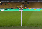 5th February 2019, Molineux Stadium, Wolverhampton, England; FA Cup football, 4th round replay, Wolverhampton Wanderers versus Shrewsbury Town; General view of the Wolves Please Keep Off The Grass sign next to the pitch