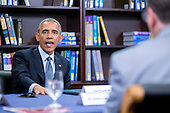 United States President Barack Obama speaks while participating in a roundtable discussion on the impacts of climate change on public health at Howard University in Washington, D.C., U.S., on Tuesday, April 7, 2015. The President is warning that climate change will start affecting Americans' health in the near future and he is recruiting top technology companies to help prepare the nation's health systems.<br /> Credit: Andrew Harrer / Pool via CNP