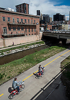 The bike path on Cherry Creek Path near downtown Denver, Colorado, Saturday, April 18, 2015. <br /> <br /> Photo by Matt Nager