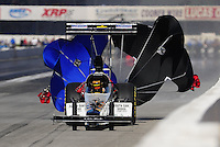 Nov 13, 2010; Pomona, CA, USA; NHRA top fuel dragster driver Chris Karamesines during qualifying for the Auto Club Finals at Auto Club Raceway at Pomona. Mandatory Credit: Mark J. Rebilas-