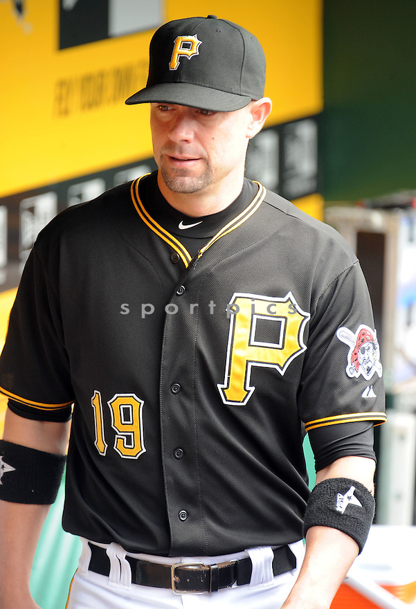 Pittsburgh Pirates Chris Stewart (19) during a game against the St. Louis Cardinals on August 27, 2014 at PNC Park in Pittsburgh PA. The Pirates beat the Cardinals 3-1.