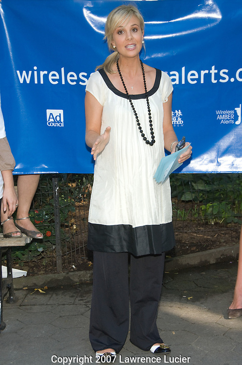NEW YORK - SEPTEMBER 24:  Television personality Elizabeth Hasselbeck speaks at the launch of the Wireless Amber Alerts Campaign September 24, 2007, at Madison Square Park in New York City.  (Photo by Lawrence Lucier)
