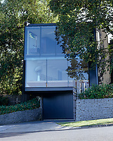The glass facade of this house is partly concealed by the large elm trees which flank the property