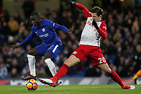 N'Golo Kante of Chelsea is tackled by West Brom's Grzegorz Krychowiak during Chelsea vs West Bromwich Albion, Premier League Football at Stamford Bridge on 12th February 2018