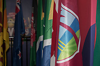 The competing countries flags on display in the media suite during South Africa vs West Indies, ICC World Cup Warm-Up Match Cricket at the Bristol County Ground on 26th May 2019