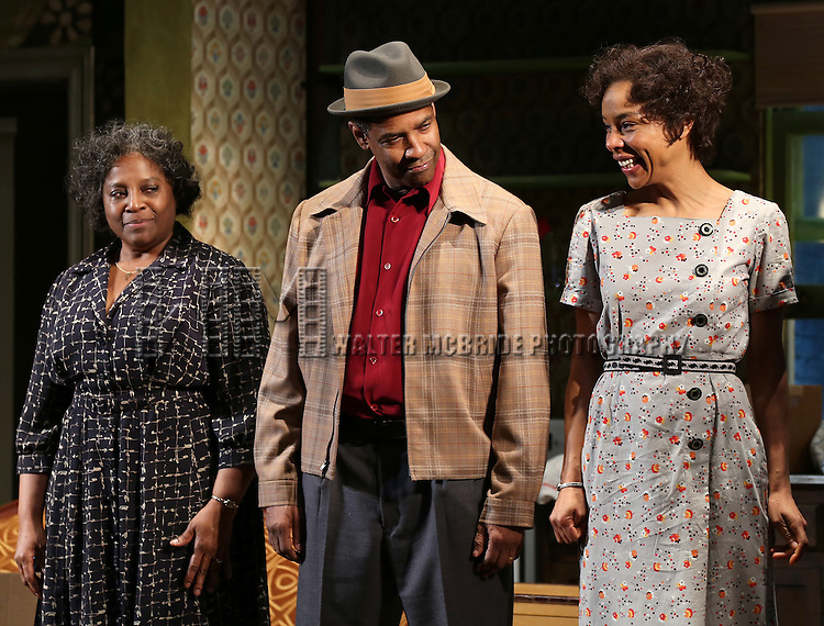 "LaTanya Richardson, Denzel Washington and Sophie Okonedo  during the Broadway Opening Night Curtain Call for  ""A Raisin In The Sun""  at the Barrymore Theatre on April 3, 2014 in New York City."