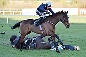 2nd February 2019, Leopardstown, Dublin, Ireland; Voix du Reve going down with Paul Townend during the Arkle Novice Chase. Leopardstown racecourse.