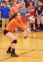 Photo by Randy Moll<br /> Kaylee Midyett, a Gravette junior, receives a serve during the final regular season game against the Lady Lions at Gravette High School on Thursday (Oct. 12, 2017).