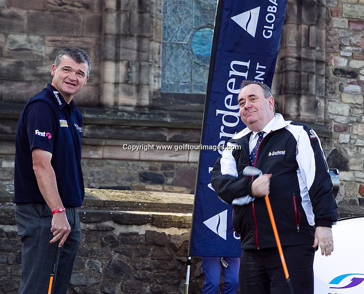 At the press conference held in Edinburgh Castle where Martin Gilbert is joined by Scotland's First Minister, Alex Salmond, European Tour Chief Executive George O'Grady and Open Champion Paul Lawrie to announce Aberdeen Asset Management as the title sponsor of the Scottish Open for three years. The 2012 event will be staged this year at Castle Stuart, Inverness from 12th to 15th July: Picture Stuart Adams www.golftourimages.com: 30th March 2012
