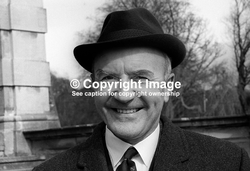 Herbert Kirk, MP, Ulster Unionist, Minister of Finance, N Ireland Parliament, Stormont, Belfast, April, 1971, 197104000225<br />