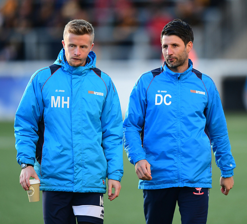 Lincoln City's head of sports science and medicine Mike Hine, left, and Lincoln City manager Danny Cowley during the pre-match warm-up <br /> <br /> Photographer Chris Vaughan/CameraSport<br /> <br /> Vanarama National League - Maidstone United v Lincoln City - Tuesday 25th April 2017 - Gallagher Stadium - Maidstone<br /> <br /> World Copyright &copy; 2017 CameraSport. All rights reserved. 43 Linden Ave. Countesthorpe. Leicester. England. LE8 5PG - Tel: +44 (0) 116 277 4147 - admin@camerasport.com - www.camerasport.com