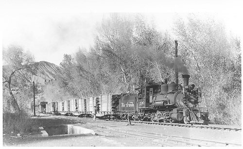 3/4 engineer's-side view of D&amp;RGW #319 with an RGS freight train, mostly lumber from the west, arriving in West Durango.<br /> D&amp;RGW (on the RGS)  Durango, CO  Taken by Perry, Otto C. - 10/29/1949