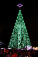 GUARULHOS, SP. 09.12.2013: DECORAÇÃO/NATAL - A cidade de Guarulhos (SP) inaugurou neste domingo (08)  sua decoração de Natal no Bosque Maia, região central da cidade; a árvore tem aproximadamente 35 metros de altura e é iluminada por cerca de 10 mil lâmpadas coloridas. Foto: Geovani Velasquez/Brazil Photo Press