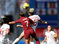 FRISCO, TX - MARCH 11: Nikita Parris #7 of England and Mapi Leon #16 of Spain go up for a header during a game between England and Spain at Toyota Stadium on March 11, 2020 in Frisco, Texas.