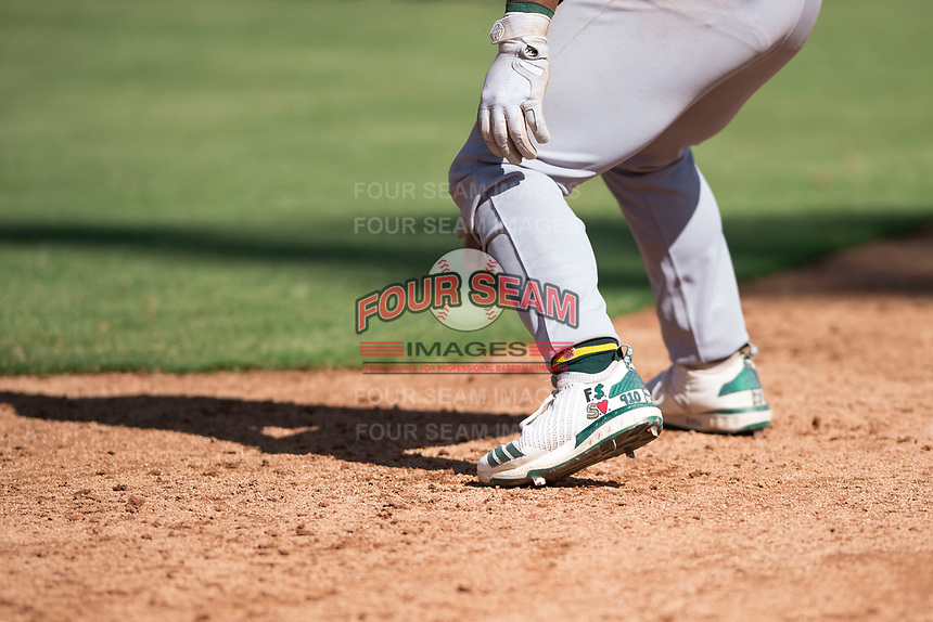 Oakland Athletics second baseman Cobie Vance (19) wears custom cleats during an Instructional League game against the Los Angeles Dodgers at Camelback Ranch on October 4, 2018 in Glendale, Arizona. (Zachary Lucy/Four Seam Images)