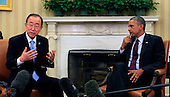 United States President Barack Obama holds a bilateral meeting with  United Nations Secretary-General Ban Ki-moon in the Oval Office of the White House in Washington, DC on August 4, 2015.  <br /> Credit: Dennis Brack / Pool via CNP