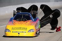 Nov 14, 2010; Pomona, CA, USA; NHRA funny car driver Bob Bode during the Auto Club Finals at Auto Club Raceway at Pomona. Mandatory Credit: Mark J. Rebilas-