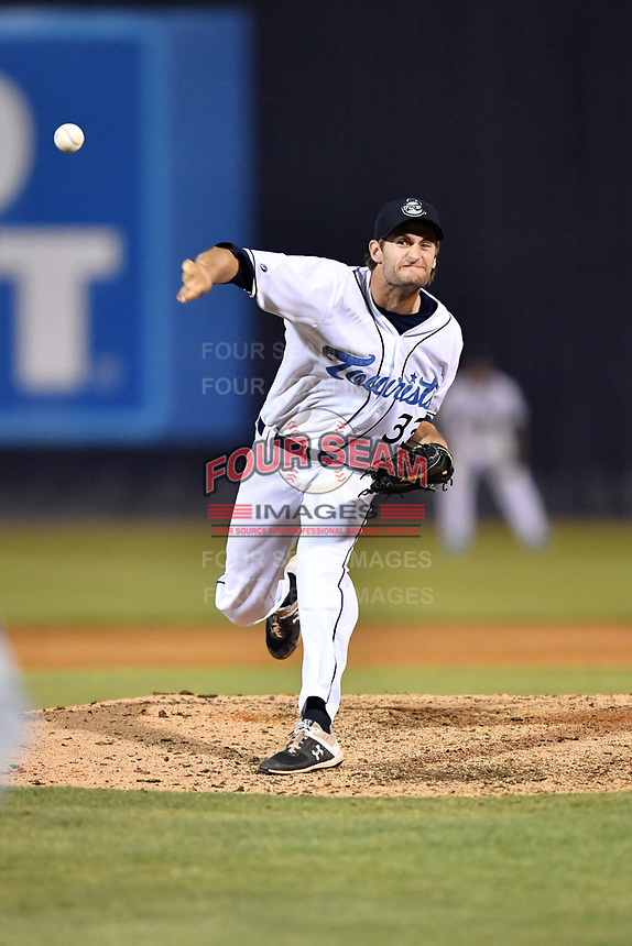 Asheville Tourists pitcher Jake Bird (33) delivers a pitch during a game against the Lexington Legends at McCormick Field on July 1, 2019 in Asheville, North Carolina. The Tourists defeated the Legends 9-8. (Tony Farlow/Four Seam Images)
