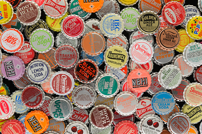 This collection of bottle caps was created in the studio for a great and interesting splash of color with something all of us are familiar with. Even though these are not the well known national brands, the idea was to show as many kinds of colorful soda pop bottle caps as possible, and you will find many that you remember and probably a few you&rsquo;ve never seen before. That&rsquo;s the way it was for me. I think I&rsquo;ve tried over half of these and some I haven&rsquo;t seen in years. Many of them are currently available if you look around, but I think some have passed on.<br />