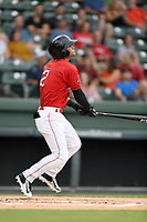 Shortstop Santiago Espinal (2) of the Greenville Drive bats in a game against the Charleston RiverDogs on Friday, July 28, 2017, at Fluor Field at the West End in Greenville, South Carolina. Charleston won, 6-1. (Tom Priddy/Four Seam Images)