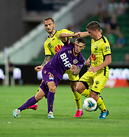 7th February 2020; HBF Park, Perth, Western Australia, Australia; A League Football, Perth Glory versus Wellington Phoenix; Jake Brimmer of the Perth Glory closed down by Cameron Devlin of Wellington Phoenix