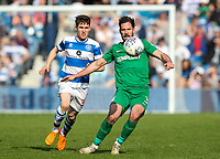 Preston North End's Greg Cunningham holds off Queens Park Rangers' Paul Smyth<br /> <br /> Photographer Andrew Kearns/CameraSport<br /> <br /> The EFL Sky Bet Championship - Queens Park Rangers v Preston North End - Loftus Road - London<br /> <br /> World Copyright &copy; 2018 CameraSport. All rights reserved. 43 Linden Ave. Countesthorpe. Leicester. England. LE8 5PG - Tel: +44 (0) 116 277 4147 - admin@camerasport.com - www.camerasport.com