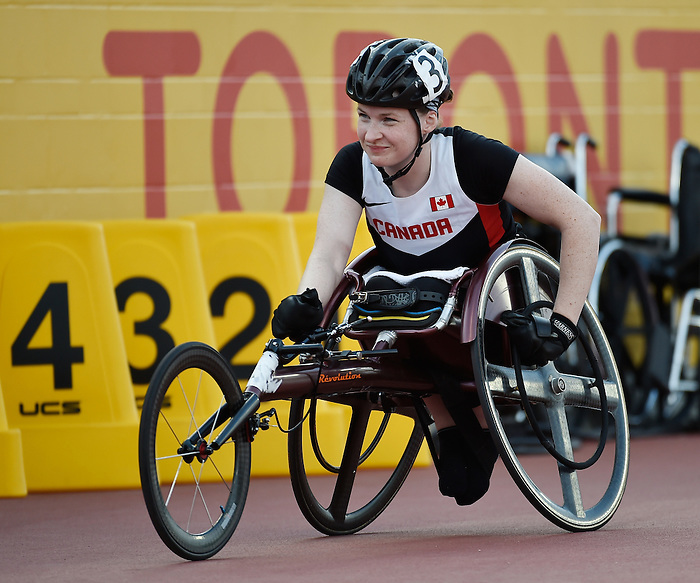 Toronto, ON - Aug 13 2015 - Ilana Dupont competes in the Women's 100m T53 Final in the CIBC Athletics Stadium during the Toronto 2015 Parapan American Games  (Photo: Matthew Murnaghan/Canadian Paralympic Committee)