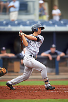 Tampa Yankees first baseman Gosuke Katoh (40) follows through on a swing during the first game of a doubleheader against the Charlotte Stone Crabs on July 18, 2017 at Charlotte Sports Park in Port Charlotte, Florida.  Charlotte defeated Tampa 7-0 in a game that was originally started on June 29th but called to inclement weather.  (Mike Janes/Four Seam Images)