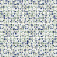 Random Grid field, a hand-cut mosaic,shown in polished Blue Macauba, Ming Green, and Celeste.