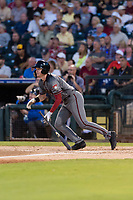 AFL East first baseman Pavin Smith (44), of the Salt River Rafters and the Arizona Diamondbacks organization, starts down the first base line during the Arizona Fall League Fall Stars game at Surprise Stadium on November 3, 2018 in Surprise, Arizona. The AFL West defeated the AFL East 7-6 . (Zachary Lucy/Four Seam Images)