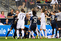 Philadelphia Union and Real Salt Lake players scuffle during the second half The Philadelphia Union and Real Salt Lake played to a 0-0 tie during a Major League Soccer (MLS) match at PPL Park in Chester, PA, on August 24, 2012.