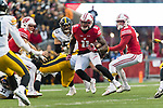 Wisconsin Badgers punt returner Nick Nelson (11) returns a punt during an NCAA College Big Ten Conference football game against the Iowa Hawkeyes Saturday, November 11, 2017, in Madison, Wis. The Badgers won 38-14. (Photo by David Stluka)