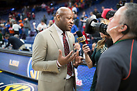 NWA Democrat-Gazette/CHARLIE KAIJO Arkansas Razorbacks head coach Mike Anderson interviews after a win in the Southeastern Conference Men's Basketball Tournament quarterfinals, Friday, March 9, 2018 at Scottrade Center in St. Louis, Mo.