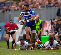 Bath Rugby's Joe Cokanasiga in action during todays match<br /> <br /> Photographer Bob Bradford/CameraSport<br /> <br /> Premiership Rugby Cup - Bath Rugby v Wasps - Sunday 5th May 2019 - The Recreation Ground - Bath<br /> <br /> World Copyright © 2018 CameraSport. All rights reserved. 43 Linden Ave. Countesthorpe. Leicester. England. LE8 5PG - Tel: +44 (0) 116 277 4147 - admin@camerasport.com - www.camerasport.com