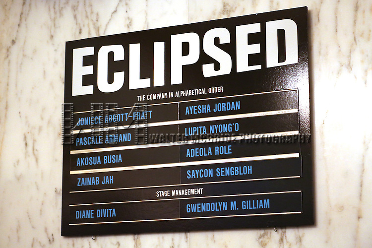 Lobby cast board for the 'Eclipsed' broadway opening night curtain call at The Golden Theatre on March 6, 2016 in New York City.
