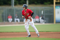 Zach Remillard (23) of the Kannapolis Intimidators takes his lead off of second base against the Charleston RiverDogs at Kannapolis Intimidators Stadium on August 3, 2016 in Kannapolis, North Carolina.  The Intimidators defeated the RiverDogs 8-4.  (Brian Westerholt/Four Seam Images)